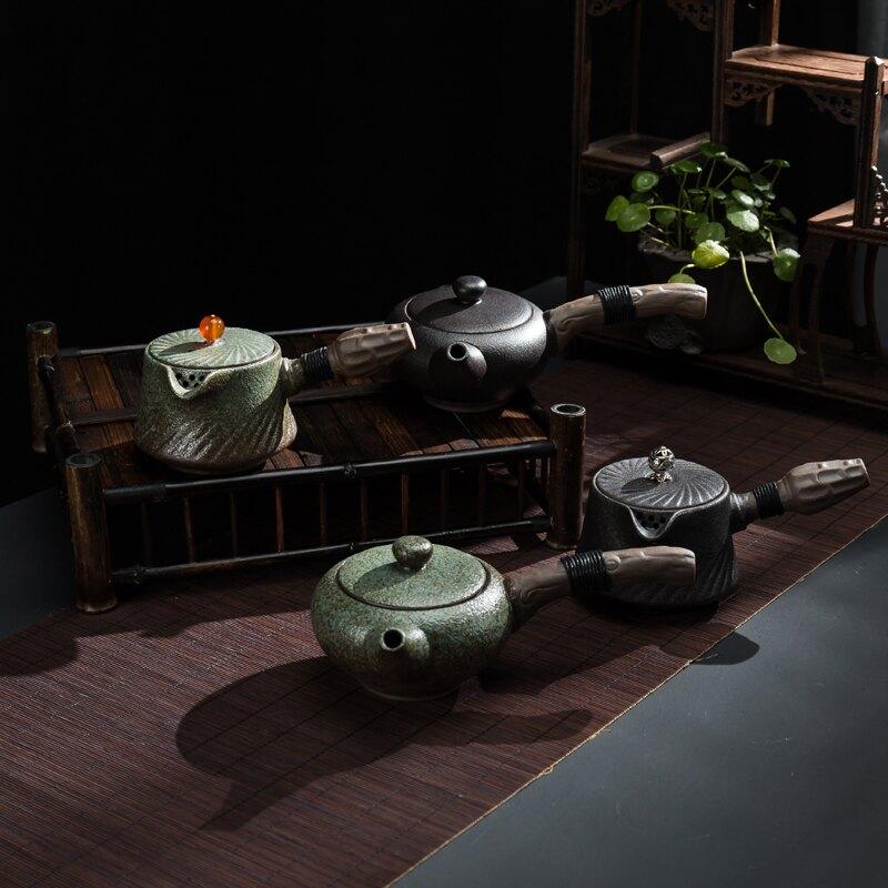 傳藝窯日式粗陶茶壺單壺陶瓷泡茶壺家用復古側把長柄壺功夫茶具