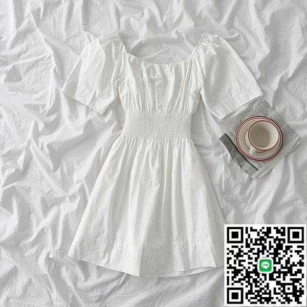 連身裙百搭方領連衣裙減齡素色裙子夏季女裝韓版休閒【海闊天空】