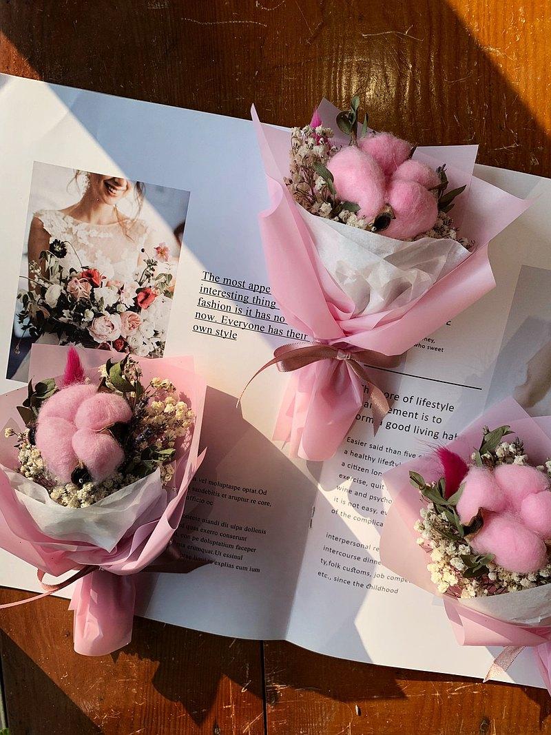 彩色棉花小花束(小)粉色.情人節.母親節.婚禮小物.畢業禮物.送禮