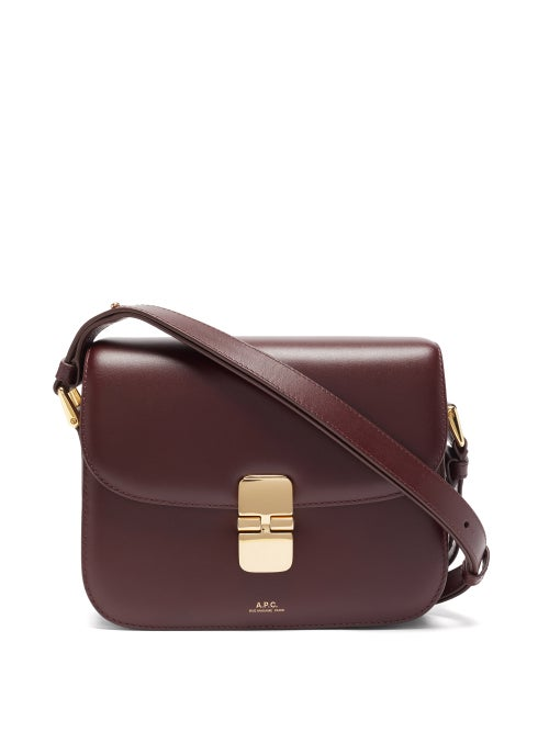 A.P.C. - Grace Large Smooth-leather Cross-body Bag - Womens - Burgundy