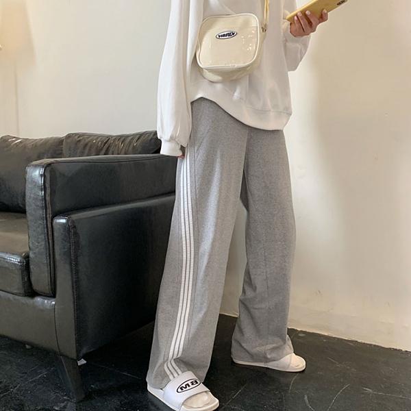 運動褲灰色運動褲女2021流行褲子寬鬆休閒高腰垂感顯瘦直筒闊腿拖地長褲 雲朵走走