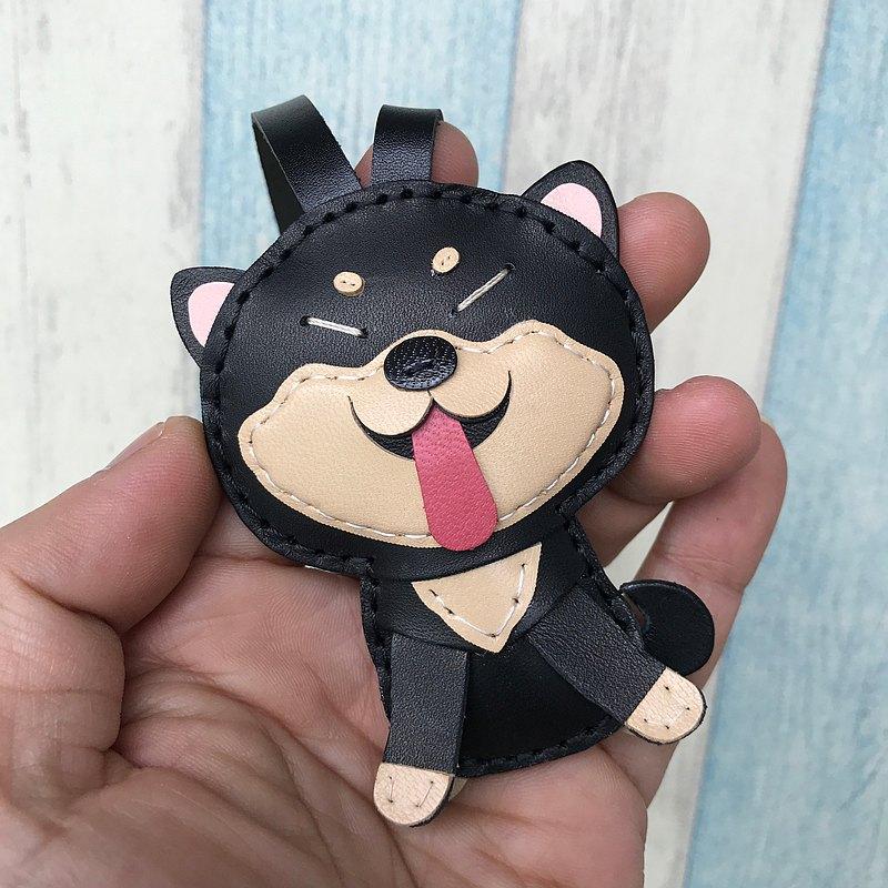 療癒小物 黑/米色 可愛 柴犬 純手工縫製 皮革 吊飾 小尺寸