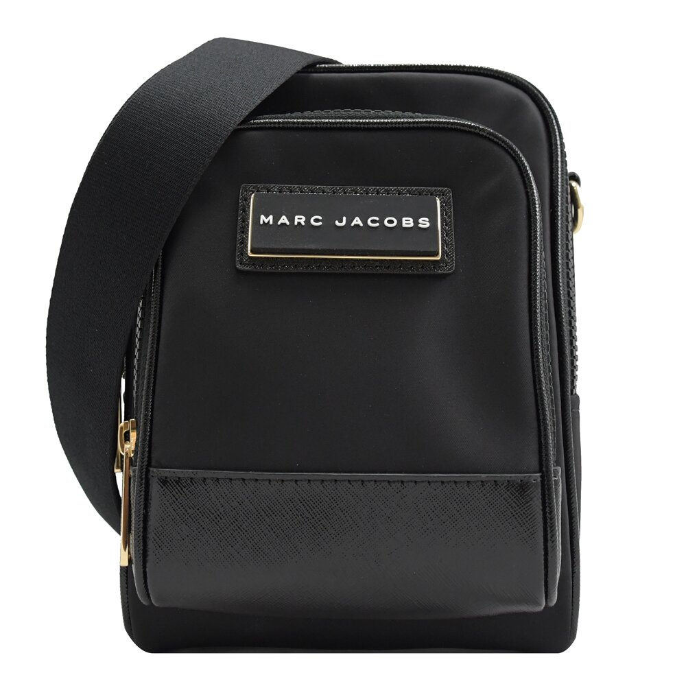MARC JACOBS 馬克賈伯 專櫃商品 方塊LOGO 尼龍拼接斜背包.黑色