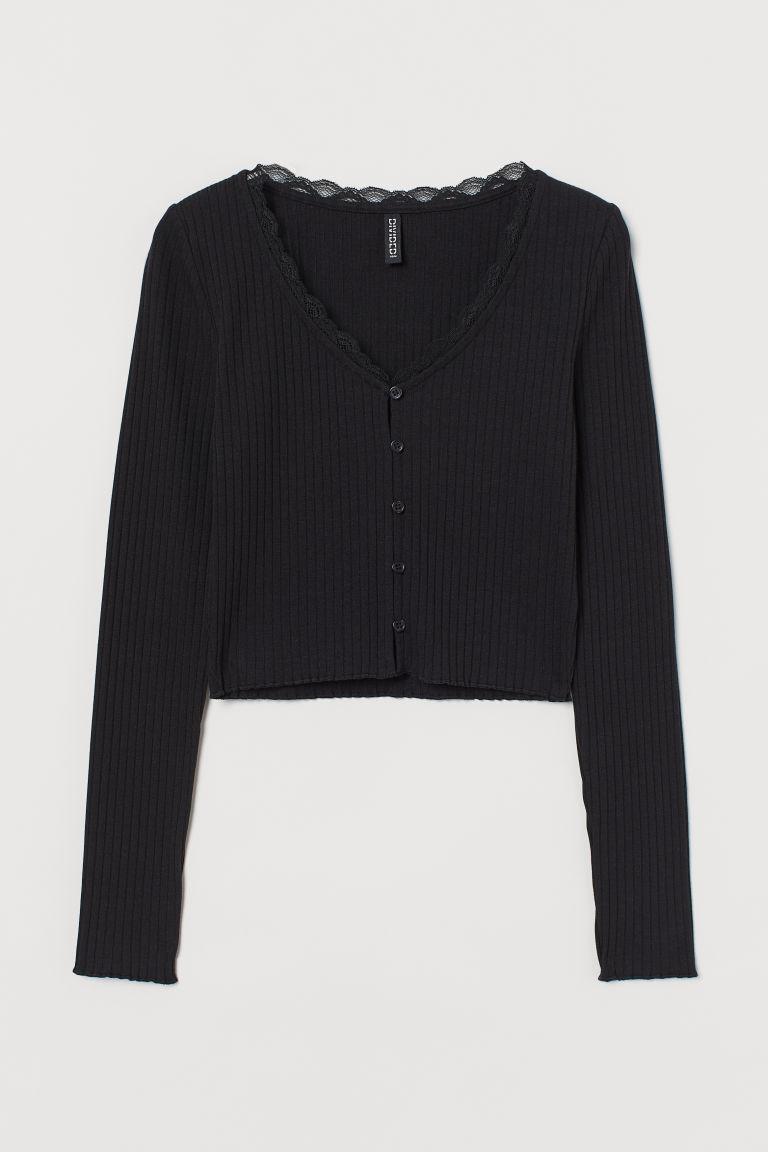 H & M - 羅紋上衣 - 黑色