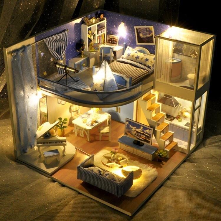 手工制作diy小屋閣樓別墅夢星空房子模型拼裝玩具創意生日禮物女