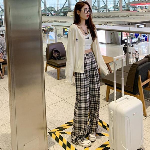 格子褲2021年新款春夏拖地褲子寬鬆高腰顯瘦垂感直筒休閒寬管褲女8 幸福第一站