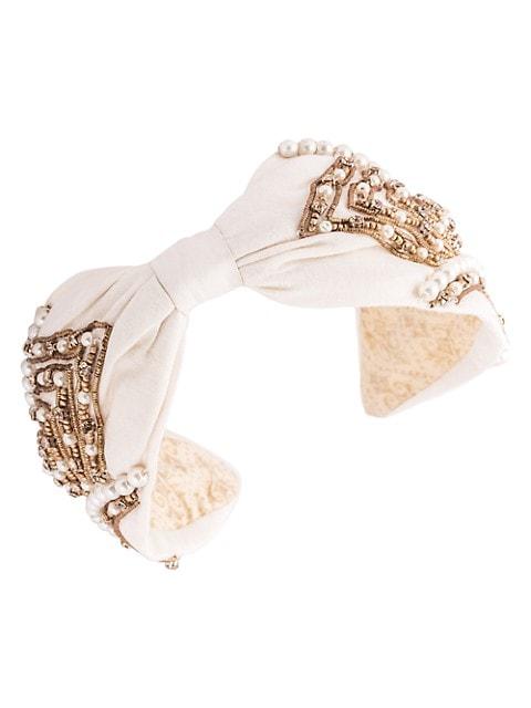 Pearl Embellished Silk Headband