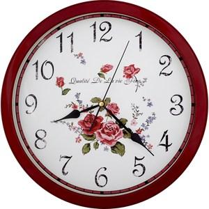 【JUSTIME 鐘情坊】14吋 浪漫花面 設計百搭色框 掛鐘紅色