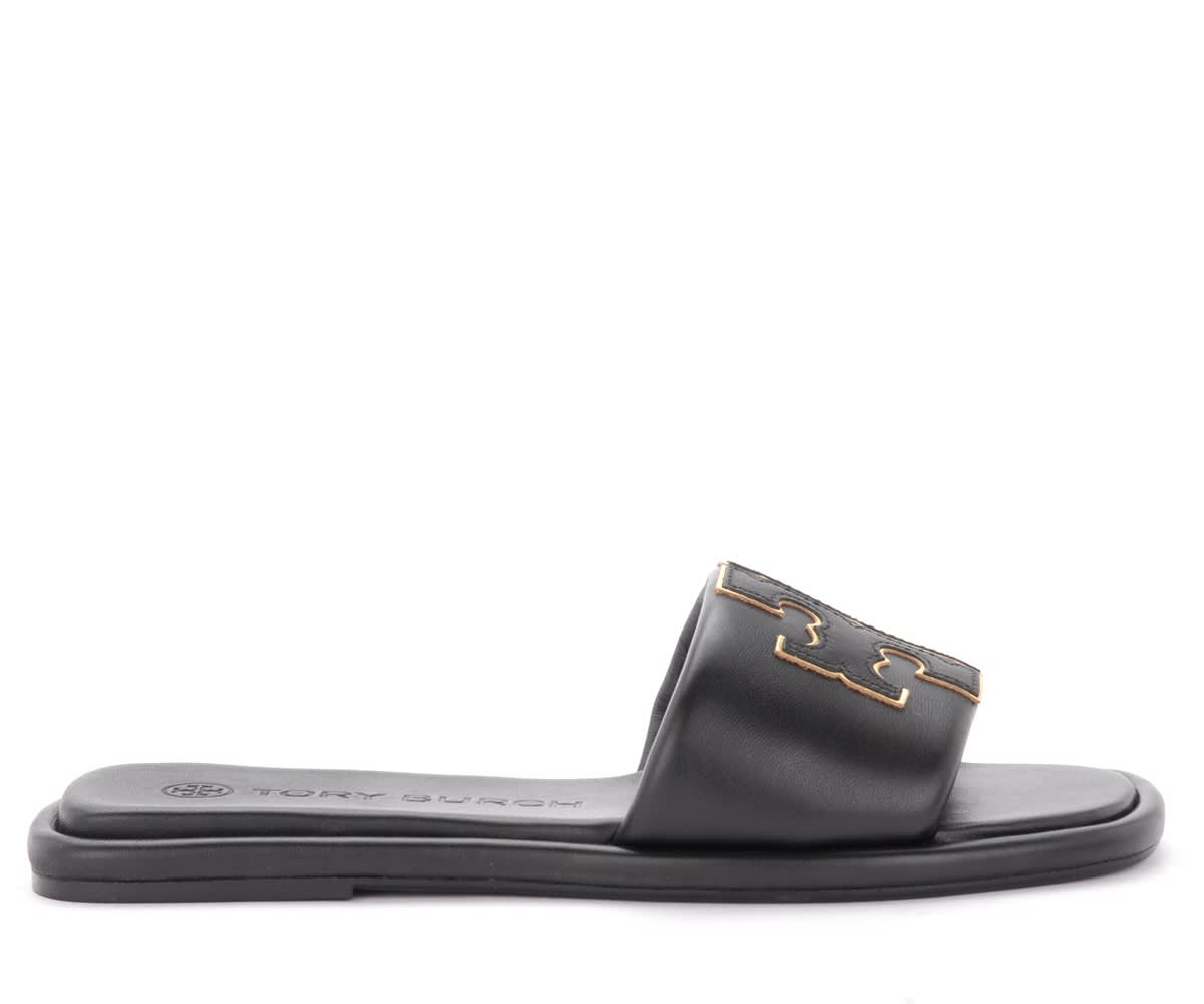 Tory Burch Sandals In Black Leather With Logo