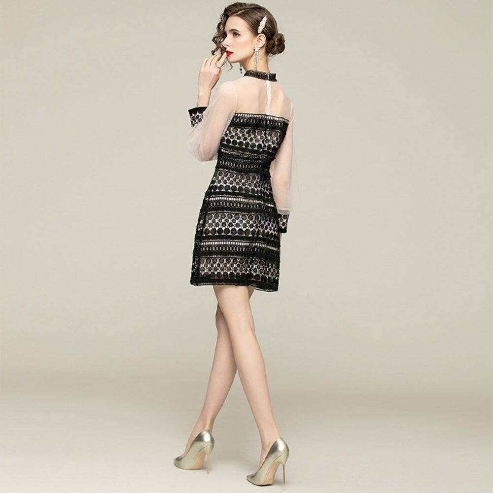 Olivia奧莉 高雅蕾絲網紗素色修身顯瘦長洋裝連身裙中大尺碼