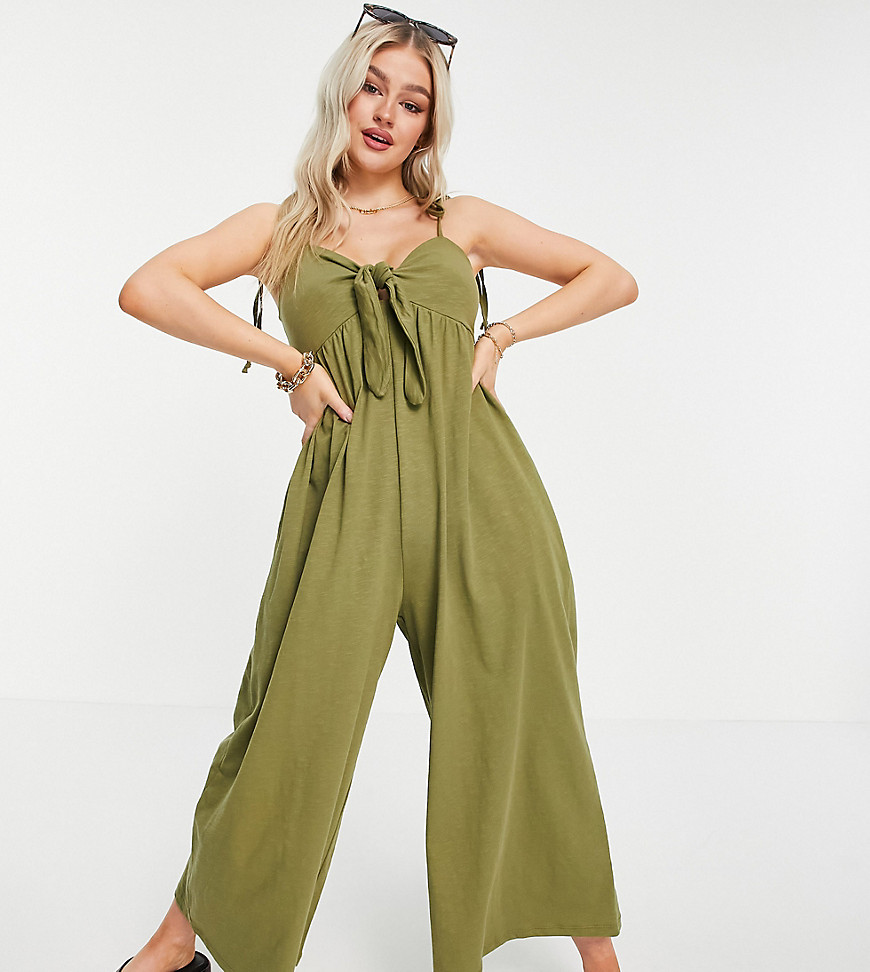 ASOS DESIGN petite tie front jumpsuit in khaki-Green