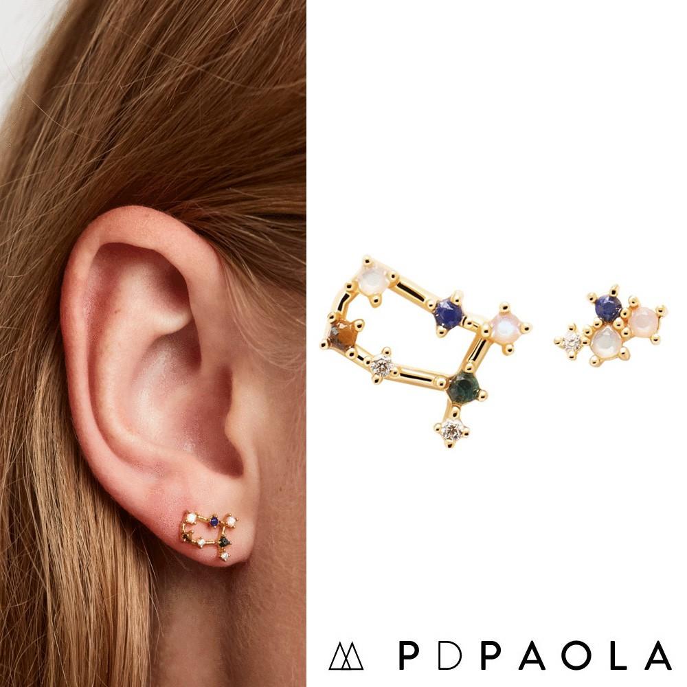 PD PAOLA 西班牙時尚潮牌 金色雙子座耳環 彩鑽星座耳環 925純銀鑲18K金