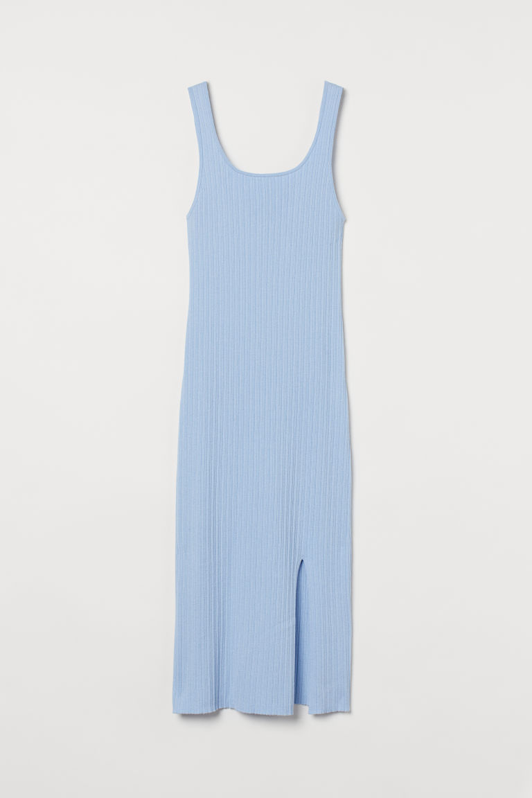 H & M - 開衩羅紋洋裝 - 藍色