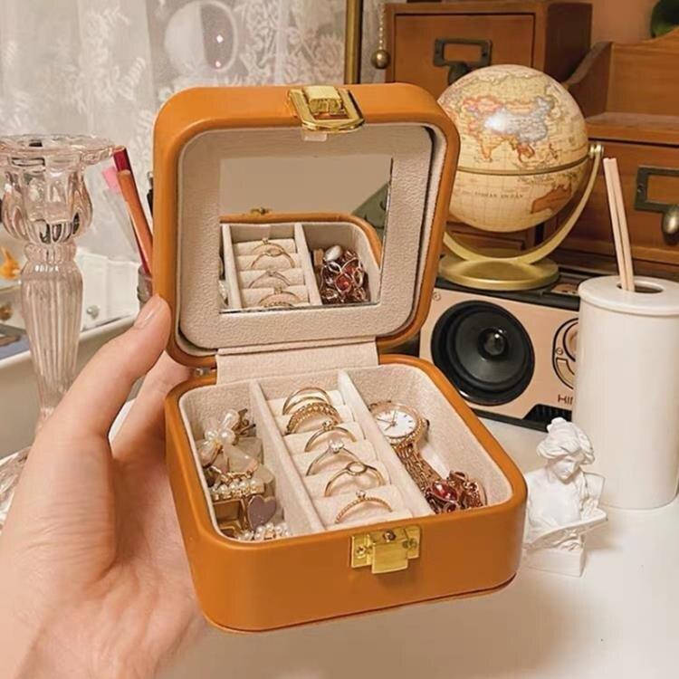 便攜式首飾盒小簡約迷你多層皮包復古風女手飾品項錬耳釘耳環收納