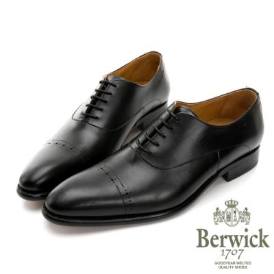 【BERWICK】西班牙進口-固特異U型雙線壓花紳士鞋 -黑 435037KM