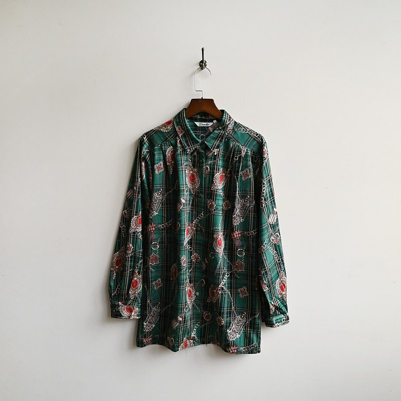 【蛋植物古着】綠光珠寶寬版印花古著襯衫