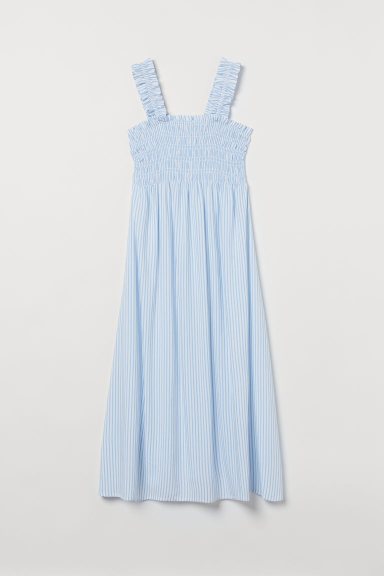 H & M - MAMA 縮褶設計洋裝 - 藍色