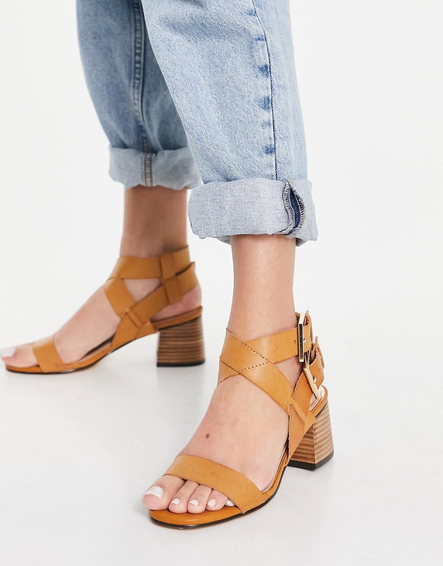 River Island strappy block heel sandal in tan-Brown