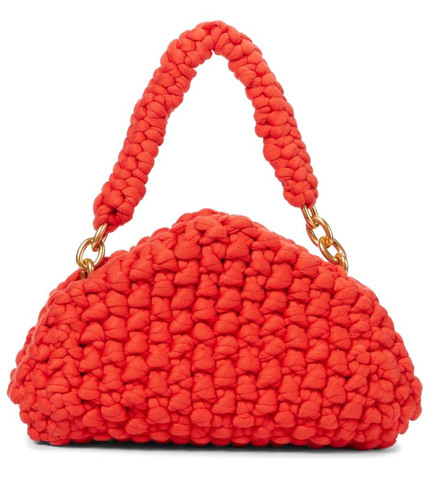 Tip knit shoulder bag