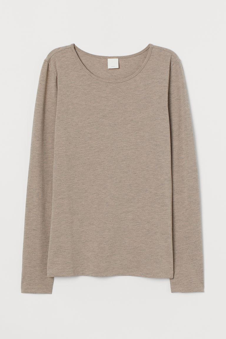 H & M - 長袖平紋上衣 - 米黃色