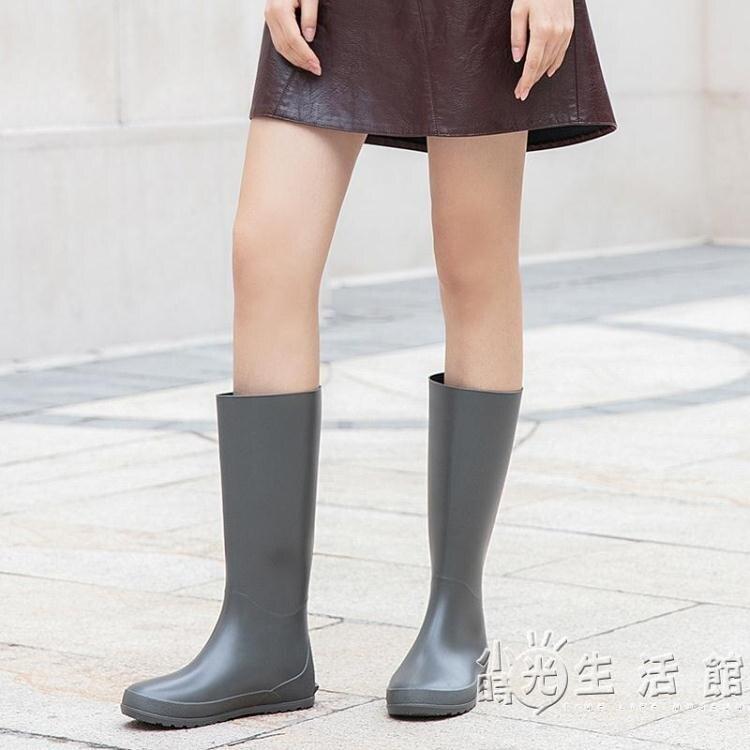 日系簡約輕便時尚款外穿雨靴長筒水鞋防水防滑膠鞋高筒水靴雨鞋女