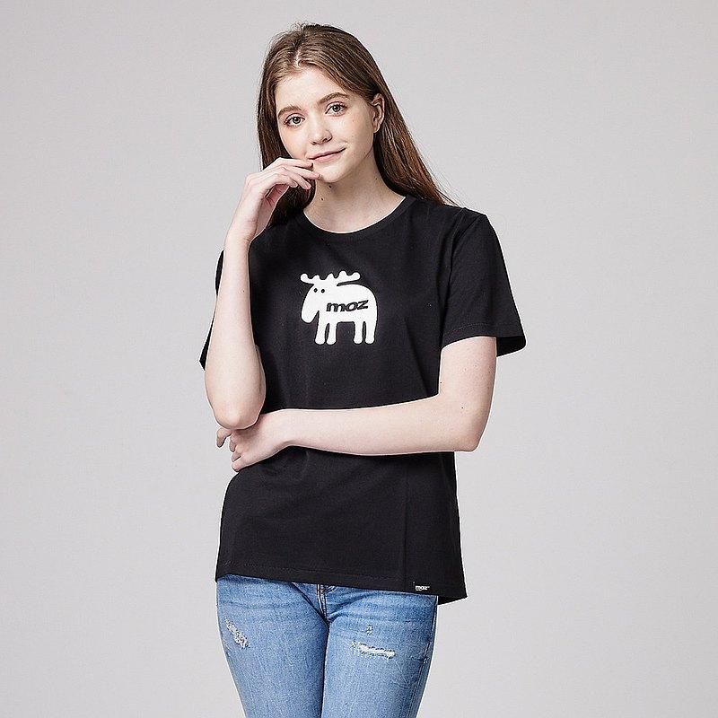 moz瑞典胸前萌樣駝鹿印花100%純棉短T百搭黑(亞洲版)女款