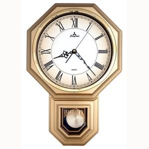 【JUSTIME 鐘情坊】復古典雅八角整點報時擺錘掛鐘/台製羅馬噴漆金框