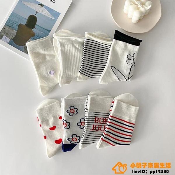 4雙裝 襪子女中筒襪潮可愛日系純色長襪女長筒品牌【小桃子】