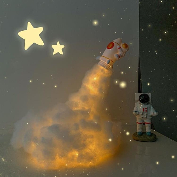 火箭燈diy材料包床頭燈led宇航員小夜燈兒童usb臺燈新年禮物創意 橙子精品