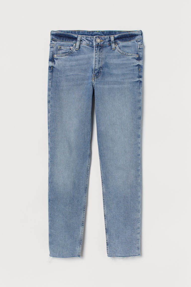 H & M - 女友中腰九分牛仔褲 - 藍色
