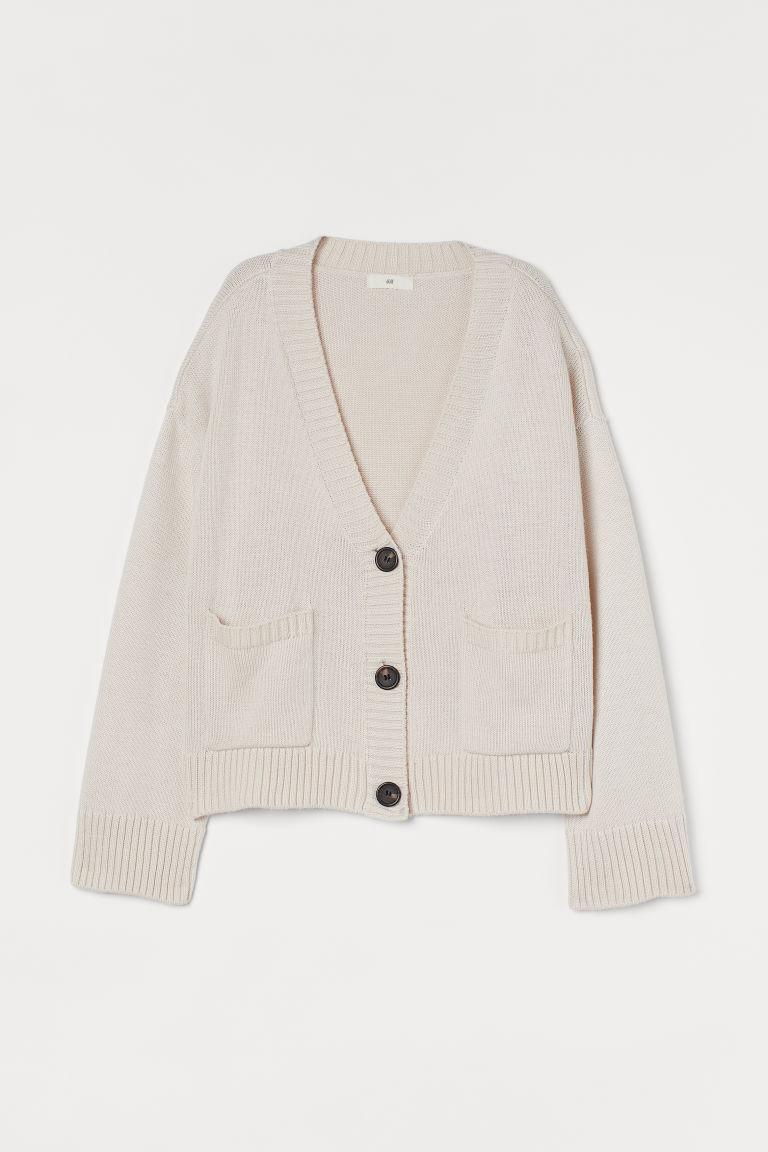 H & M - 針織開襟衫 - 米黃色