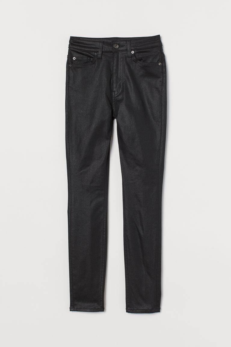 H & M - 窄管高腰牛仔褲 - 黑色