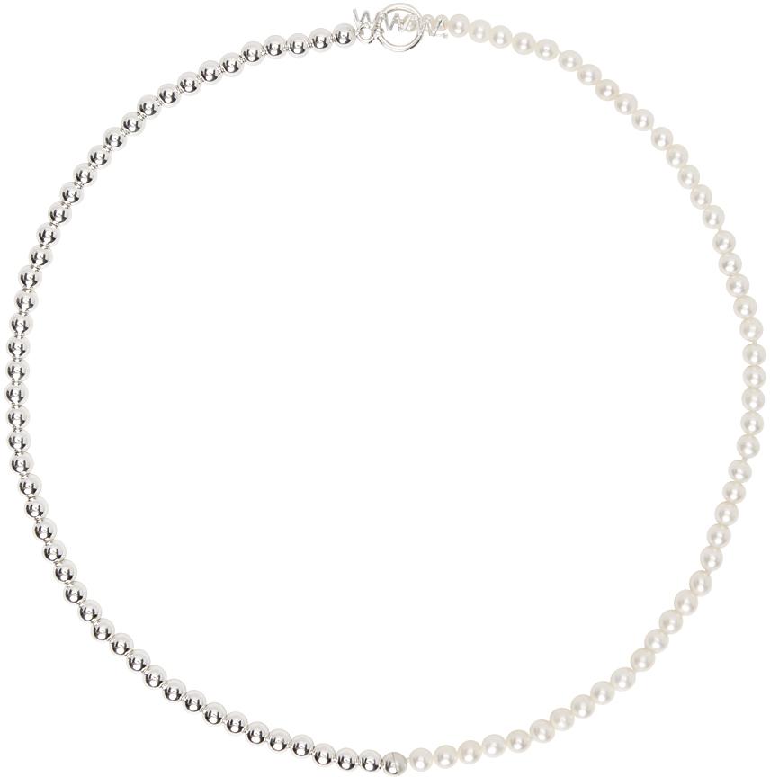 WWW. WILLSHOTT 银色珍珠波珠链项链
