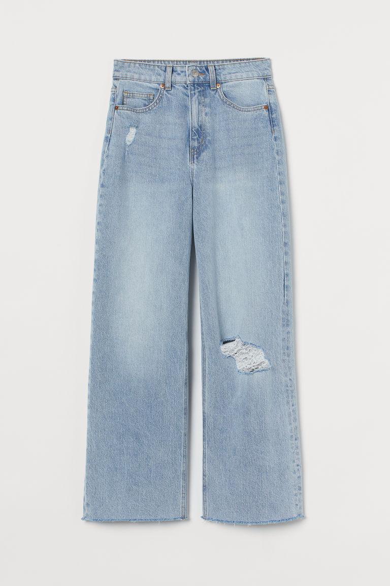 H & M - 寬鬆高腰九分牛仔褲 - 藍色