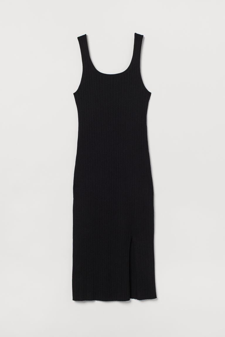 H & M - 開衩羅紋洋裝 - 黑色