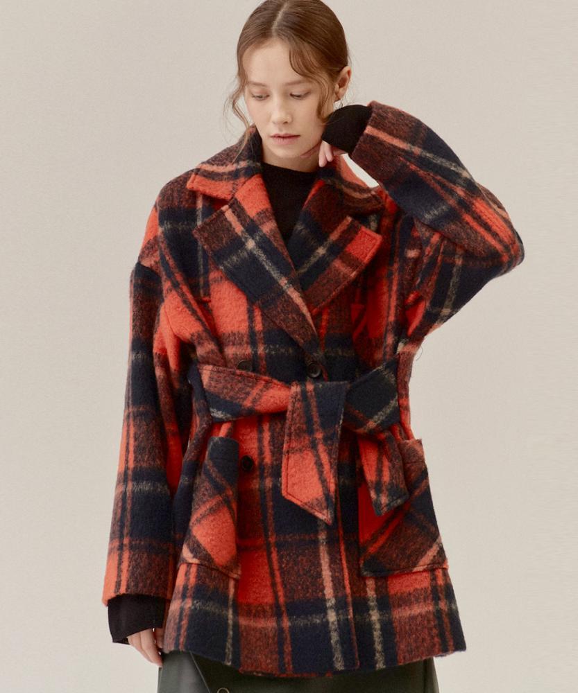 格紋雙排釦綁帶大衣