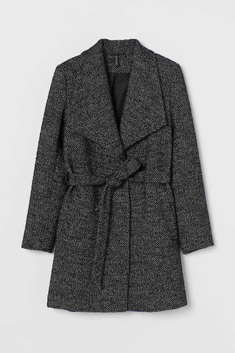 H & M - 羊毛混紡短大衣 - 黑色