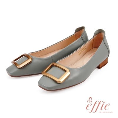 effie 艾菲小花園-復古金屬大方釦造型低跟鞋(網獨款)-雪松綠