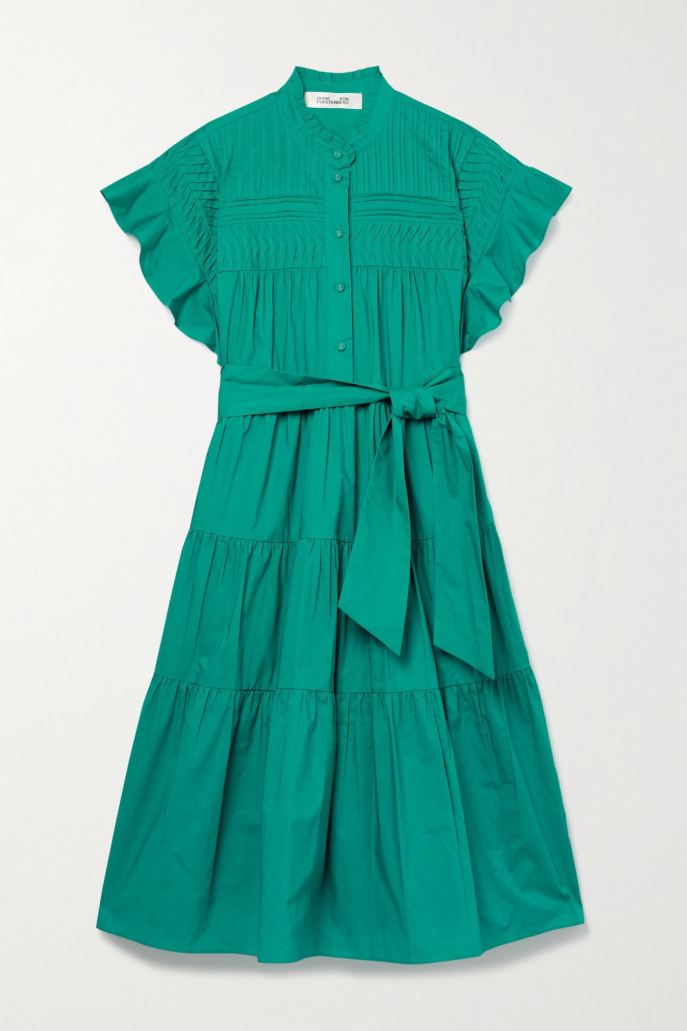 DIANE VON FURSTENBERG - Ebba 配腰带褶饰层接式纯棉府绸连衣裙 - 绿色 - x small