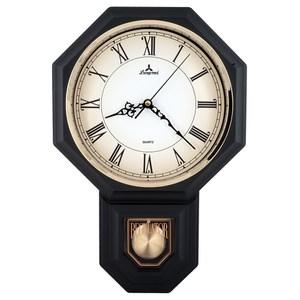 【JUSTIME 鐘情坊】復古典雅八角整點報時擺錘掛鐘/台製羅馬平光黑