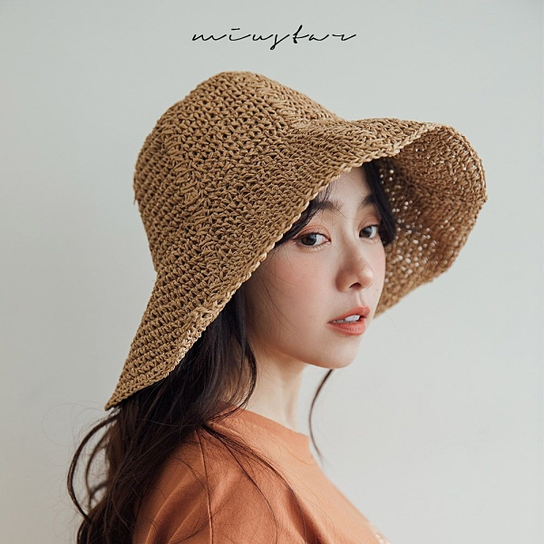 MIUSTAR 軟軟可收納!六片式編織遮陽帽(共2色)【NJ1054】預購