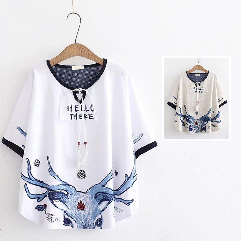 *ORead*日系森女小鹿印花寬鬆斗篷短袖T恤上衣(2色F碼)