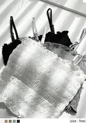 韓國空運 - 附胸墊細肩帶皺褶感背心 無袖