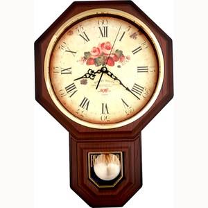 【JUSTIME 鐘情坊】復古典雅八角整點報時擺錘掛鐘/台製花面仿深木紋