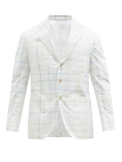 Caruso - Aida Checked Cotton Single-breasted Jacket - Mens - White Multi