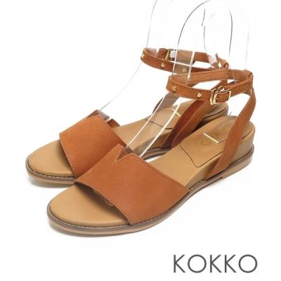 KOKKO率性鉚釘一字帶牛巴戈繫帶楔型涼鞋棕色