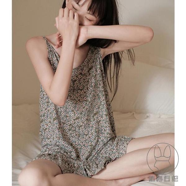 韓系優雅家居服可愛吊帶睡裙花邊小雛菊睡衣女夏季薄款【貼身日記】