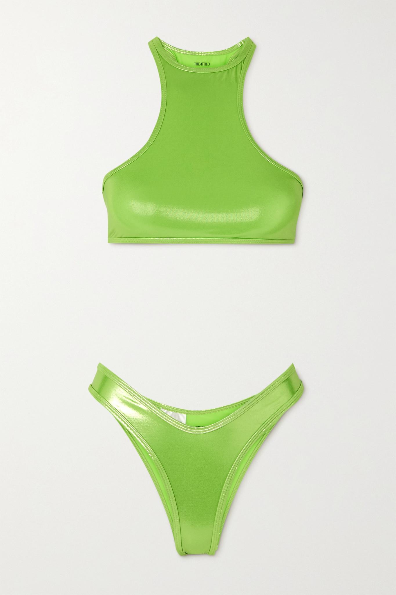 THE ATTICO - 金属感比基尼 - 绿色 - x small