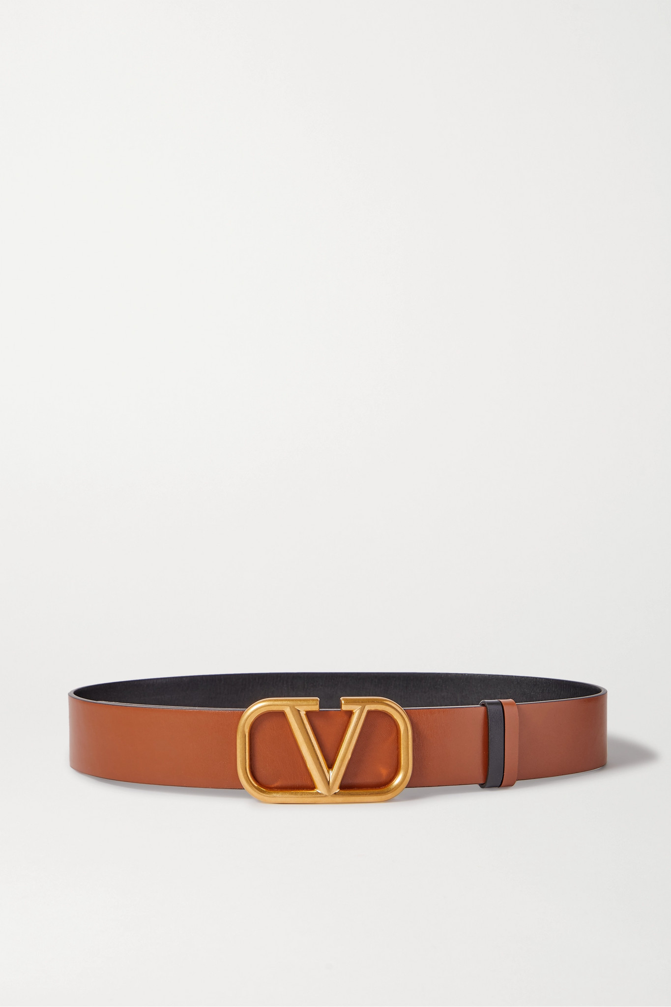VALENTINO - Valentino Garavani Vlogo Reversible Leather Belt - Brown - 80