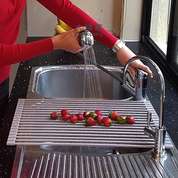 水槽瀝水架 碗架盆 廚房洗手盆濾水架水槽置物架可卷折疊水池卷簾瀝水架